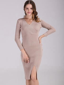 Ericdress V-Neck Knee-Length With Slit Bodycon Sweater Dress