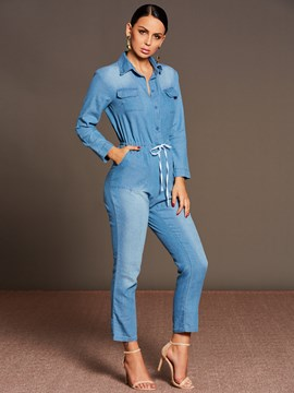Ericdress Light Lace-Up Denim Lapel Women's Jumpsuit