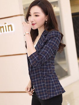Ericdress Slim Plaid One Button Blazer