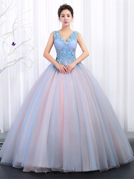 Ericdress Appliques V-Neck Pleats Floor-Length Quinceanera Dress