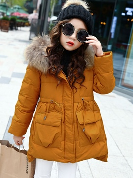 Ericdress Plain Asymmetric Thick Girl's Down Jacket