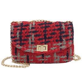 Casual Trendy Colorful Plaid Chain Crossbody Bag