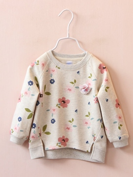 Ericdress Floral Asymmetric Long Sleeve Girl's Sweater
