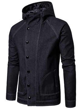Ericdress Hooded Patchwork Single-Breasted Men's Denim Jacket