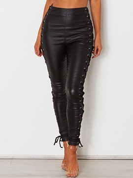 Ericdress Skinny PU Lace-Up Women's Pants