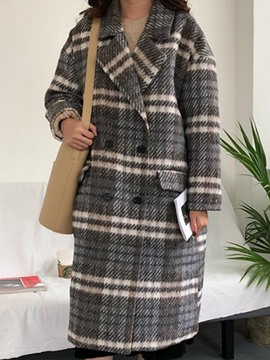 Ericdress Loose Plaid Double-Breasted Long Coat