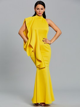 Ericdress Stand Collar Mermaid Plain Maxi Dress