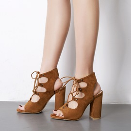 Ericdress Strappy Open Toe Plain Chunky Sandals