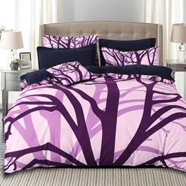 Adorila 60S Brocade Purple Withered Tree Branches 4-Piece Cotton Bedding Sets/Duvet Cover