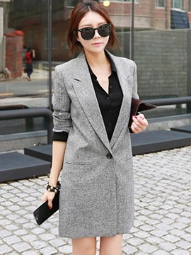 Ericdress Notched Lapel Mid-Length One Button Blazer