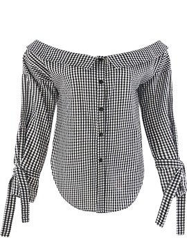 Ericdress Plaid Slash Neck Single-Breasted Blouse