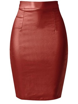 Ericdress Bodycon High-Waist Plain Split Leather Skirt