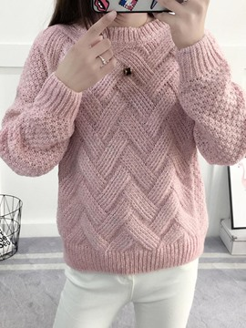 Ericdress Plain Chunky Knit Thick Sweater