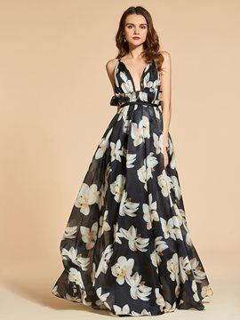 Ericdress A Line Deep Neck Floral Print Long Evening Dress