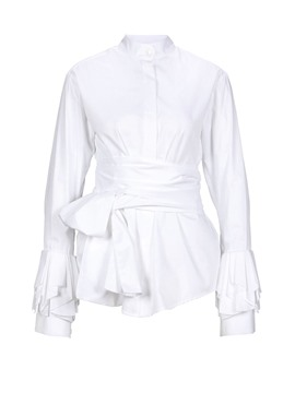 Ericdress Plain Slim Lace-Up Lantern Sleeve Shirt