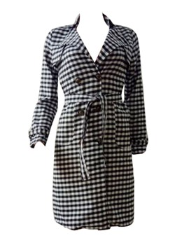Ericdress Lapel Plaid Double-Breasted Trench Coat