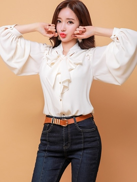Ericdress Loose Plain Bowknot Lantern Sleeve Blouse