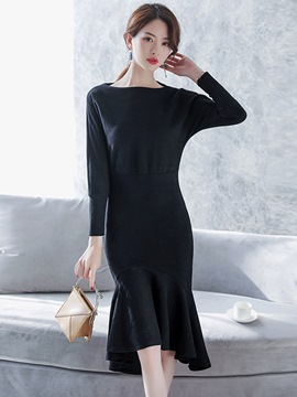 Ericdress Plain Batwing Sleeve Mermaid Bodycon Dress
