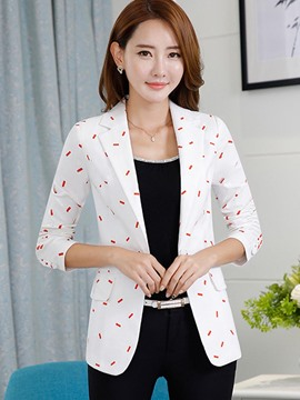 Ericdress Slim Polka Dots One Button Blazer