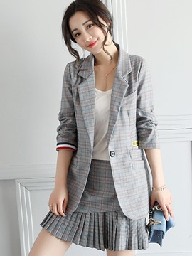 Ericdress Slim Plaid Patchwork One Button Blazer