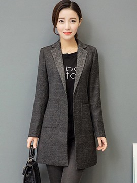 Ericdress Plain One Button Pocket Mid-Length Blazer