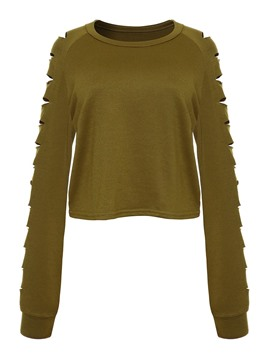 Ericdress Plain Hollow Short Sweatshirt