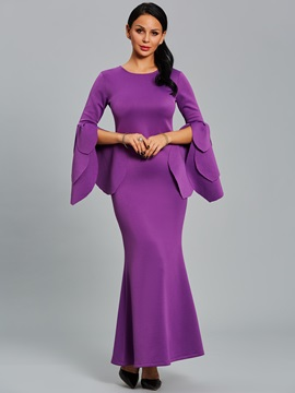 Ericdress Scoop Long Petal Sleeve Mermaid Maxi Dress