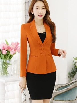 Ericdress Plain Slim Single-Breasted Blazer