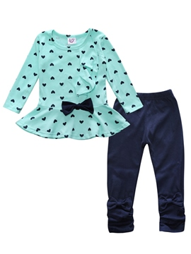 ericdress Herzdruck Bowknot falbala Baby Mädchen 2-teiliges Outfit