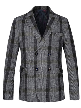 Ericdress Lapel Plaid Double-Breasted Men's Blazer