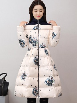 Ericdress A Line High Neck Print Thick Down Coat