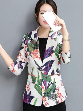 Ericdress Slim Floral Print One Button Blazer