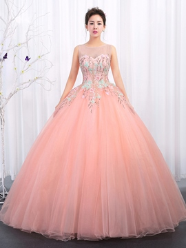 Ericdress Bateau Embroidery Sleeveless Ball Quinceanera Dress