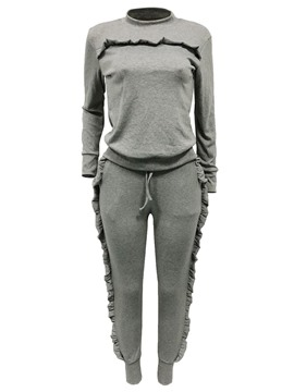 Ericdress Ruffles T-Shirt and Pants Women's Sport Suit