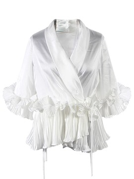 Ericdress Plain Ruffles V-Neck Blouse