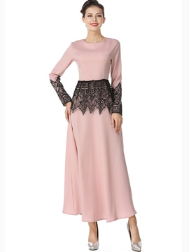 Ericdress Lace Patchwork Trumpet Long Sleeve Maxi Dress