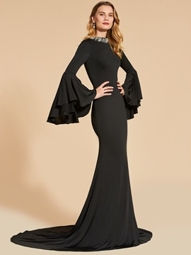 Ericdress Long Sleeve Beaded Scoop Neck Mermaid Evening Dress