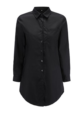 Ericdress Plain Lapel Mid-Length Shirt