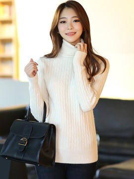 Ericdress Slim High Neck Plain Sweater