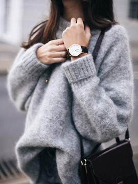 Ericdress Loose Plain Chunky Knit Sweater