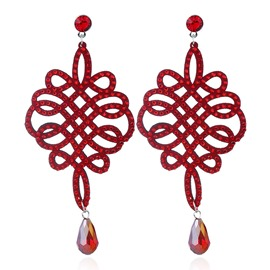 Ericdress Breathtaking Fully-Jewelled Red Drop Earring