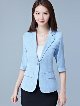 Ericdress Plaid One Button Three-Quarter Sleeve Blazer
