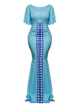 Ericdress Star Print Color Block Flare Sleeve Women's Maxi Dress