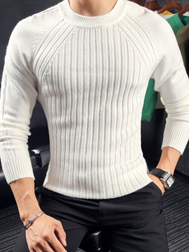 Ericdress Round Neck Slim Stripe Men's Pullover Sweater