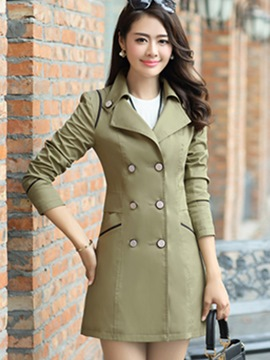 Ericdress Plain Double-Breasted Lapel Trench Coat