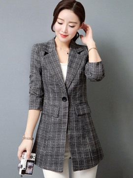 Ericdress Slim Plaid Mid-Length One Button Blazer