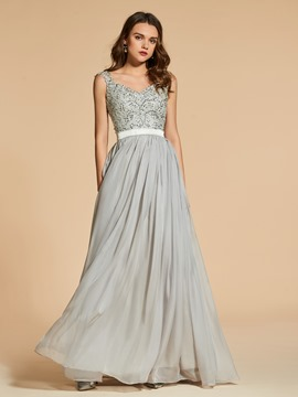 Ericdress A Line Cap Sleeve Applique Beaded Long Evening Dress