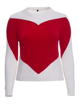 Ericdress Plus-Size Heart Shaped Pullover Knitwear