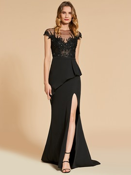 Ericdress Cap Sleeve Beaded Lace Mermaid Evening Dress With Side Slit