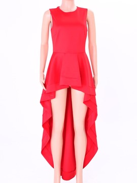 Ericdress Plain Asymmetric Ruffles Blouse